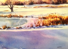 "Winter on the Course • 11"" x 15"" • watercolor /140lb. Arches"